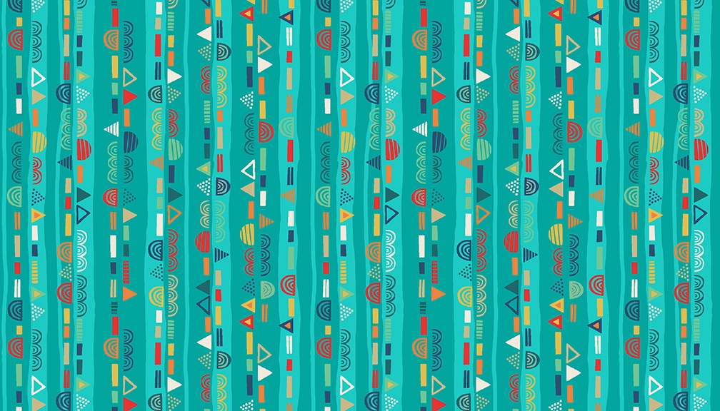 Makower- Folk Friends - No. 2306/X Scallop Stripe (Teal)