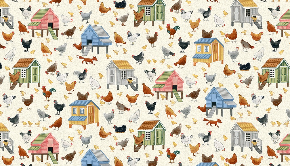 Makower - Village Life - No. 2294/1 Chickens (Cream)