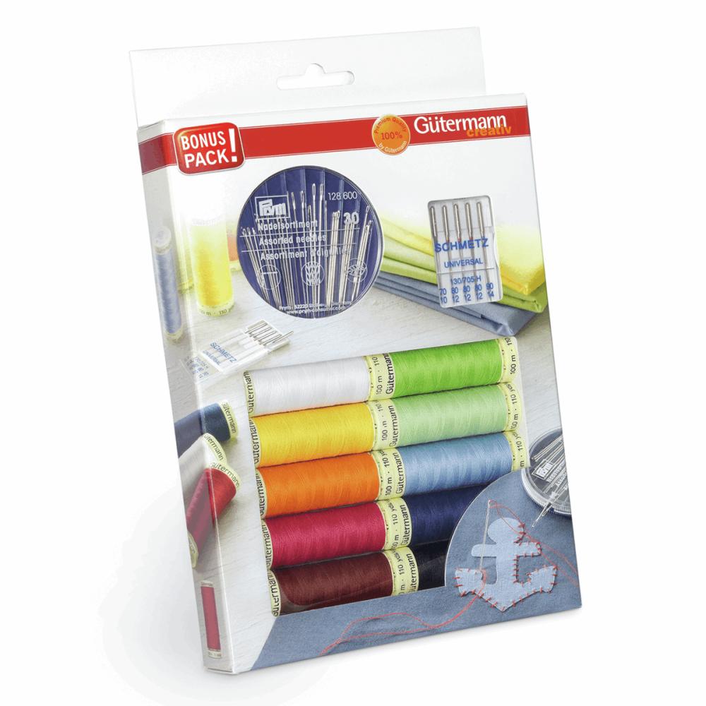 Gutermann Thread Set - Sew-All 100m x 10 + Sewing Needles