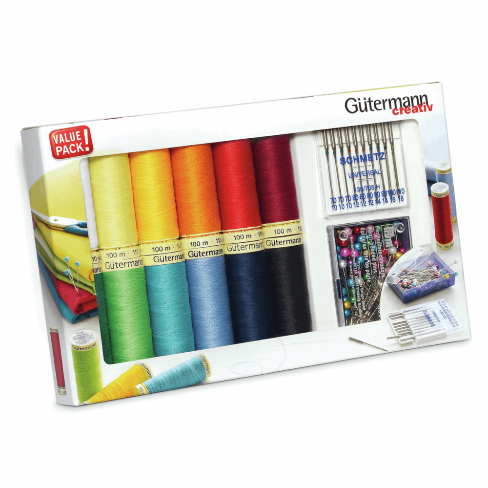 Gutermann Thread Set - Sew-All 100m x 12 + Sewing Needles & Pins