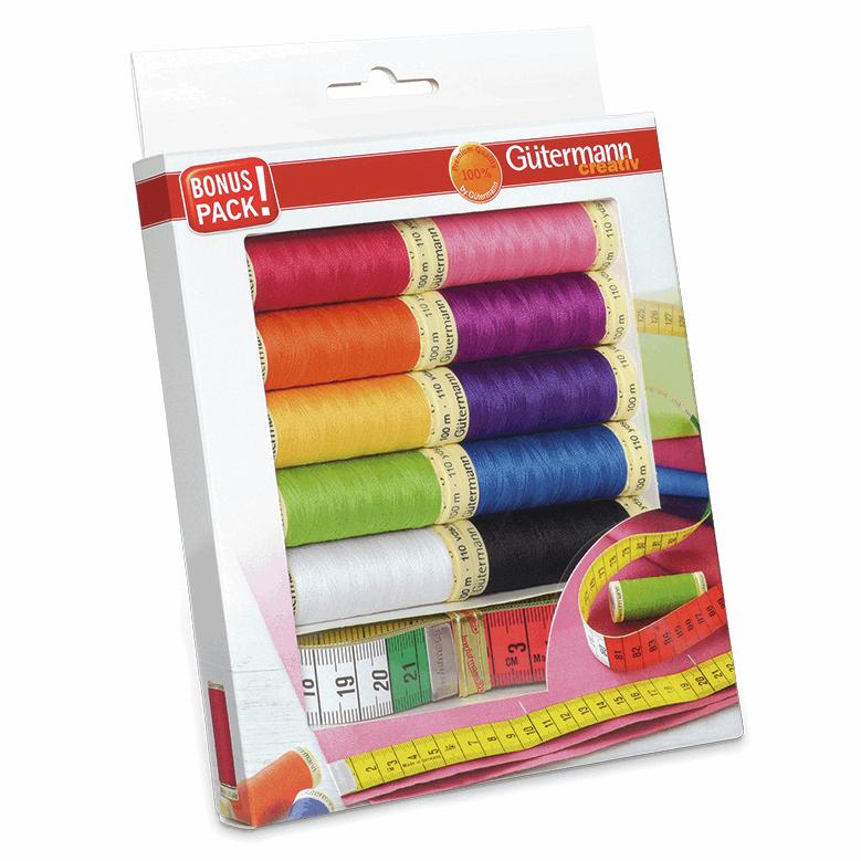 Gutermann Thread Set - Sew-All 100m x 10 + Measuring Tape