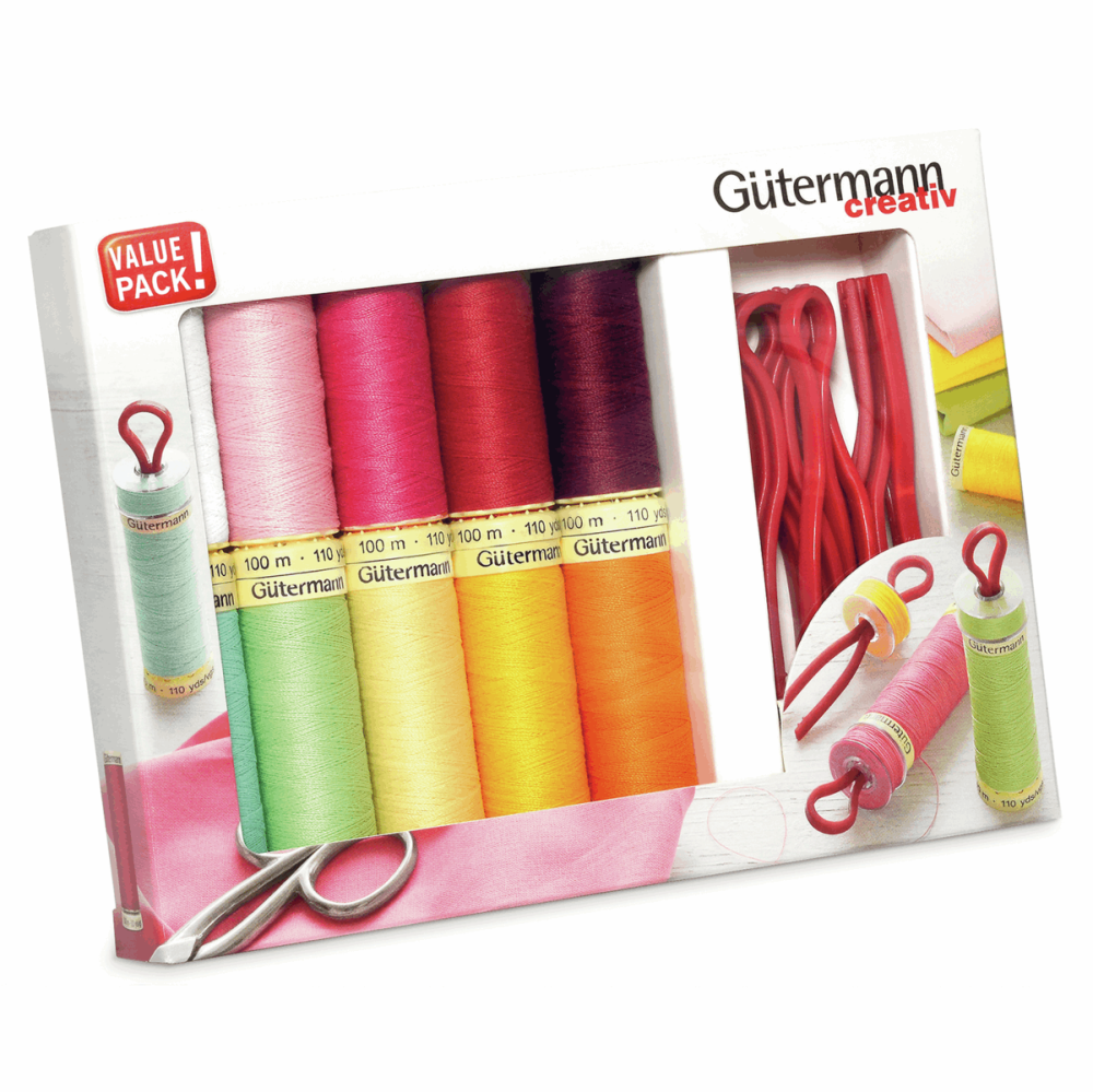 Gutermann Thread Set - Sew-All 100m x 10 + Bobbin Clips