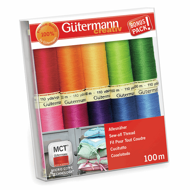 Gutermann Thread Set - Sew-All 100m x 10 (Brights - Assorted)