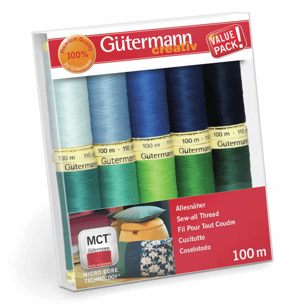 Gutermann Thread Set - Sew-All 100m x 10 (Brights - Blues & Greens)