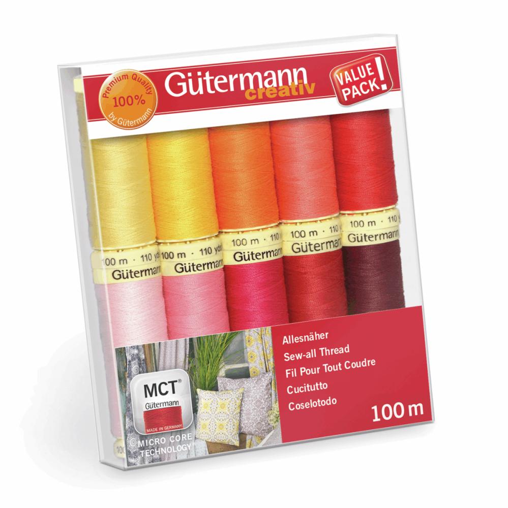 Gutermann Thread Set - Sew-All 100m x 10 (Brights - Reds, Pinks & Yellows)