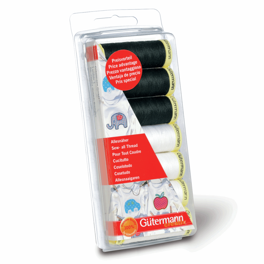 Gutermann Thread Set - Sew-All 100m x 7 (Black & White)