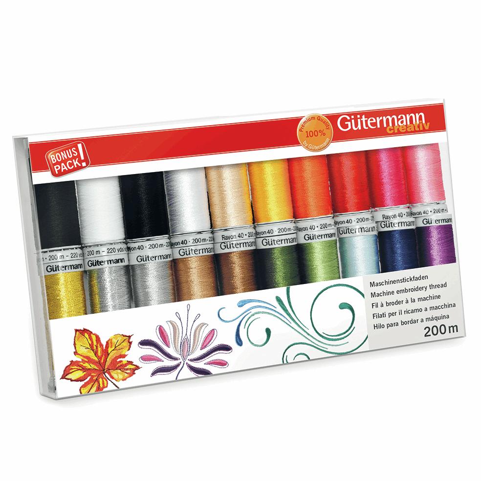 Gutermann Thread Set - Rayon 40, Metallic & Bobbin Thread 200m x 20