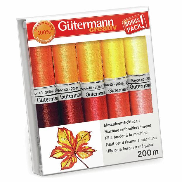 Gutermann Thread Set - Rayon 40 200m x 10 (Reds & Yellows)