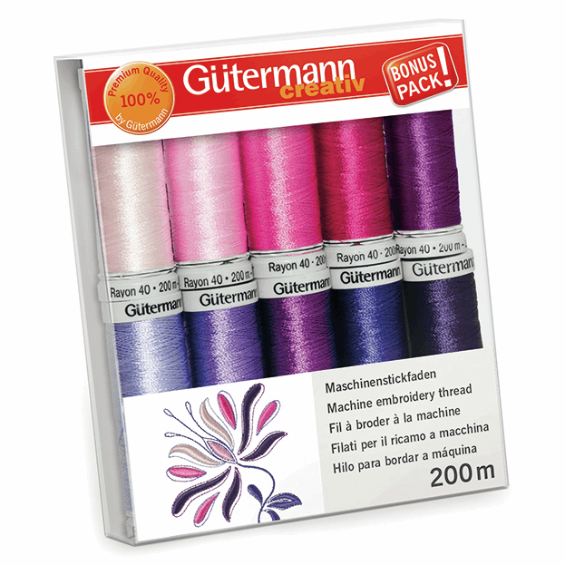 Gutermann Thread Set - Rayon 40 200m x 10 (Pinks & Purples)