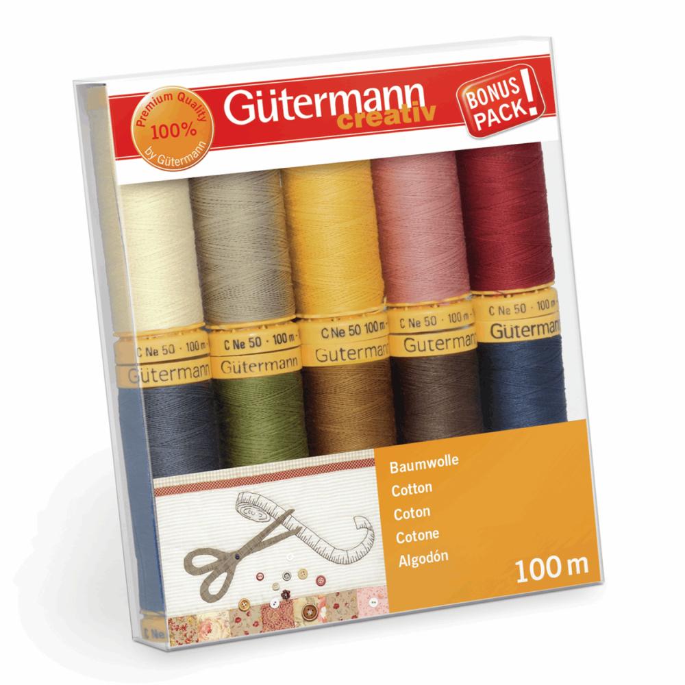 Gutermann Thread Set - Natural Cotton 100m x 10 (No. 3)