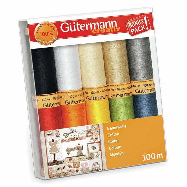 Gutermann Thread Set - Natural Cotton 100m x 10 (No. 1)