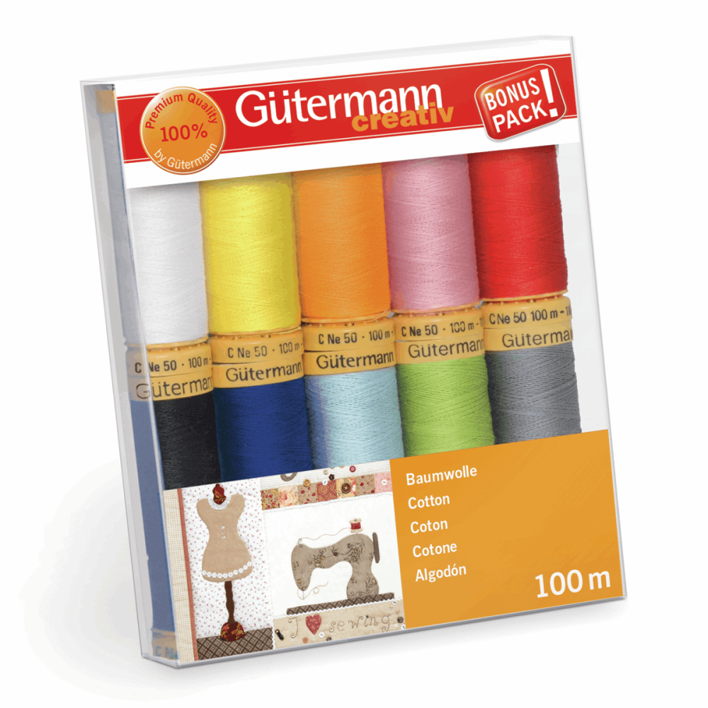 Gutermann Thread Set - Natural Cotton 100m x 10 (No. 2)