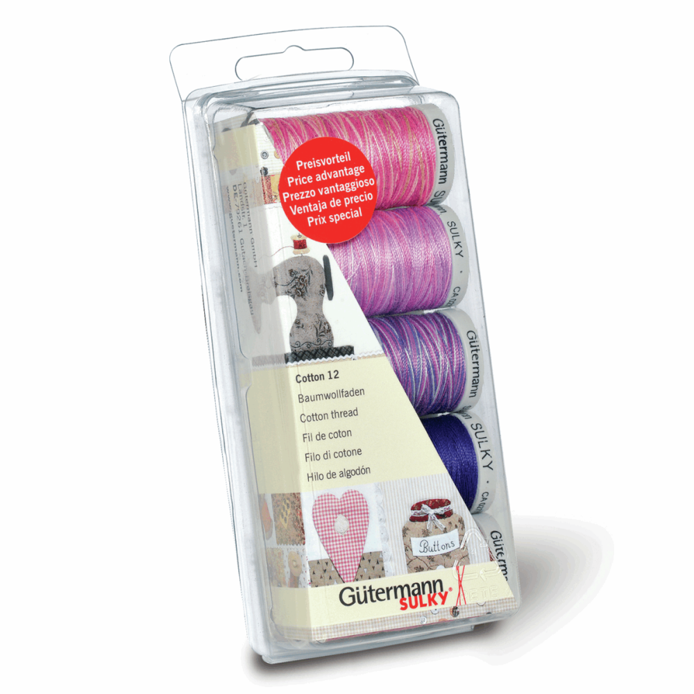 Gutermann Thread Set - Sulky No. 12 Cotton 200m x 5 (Pinks and Purples)