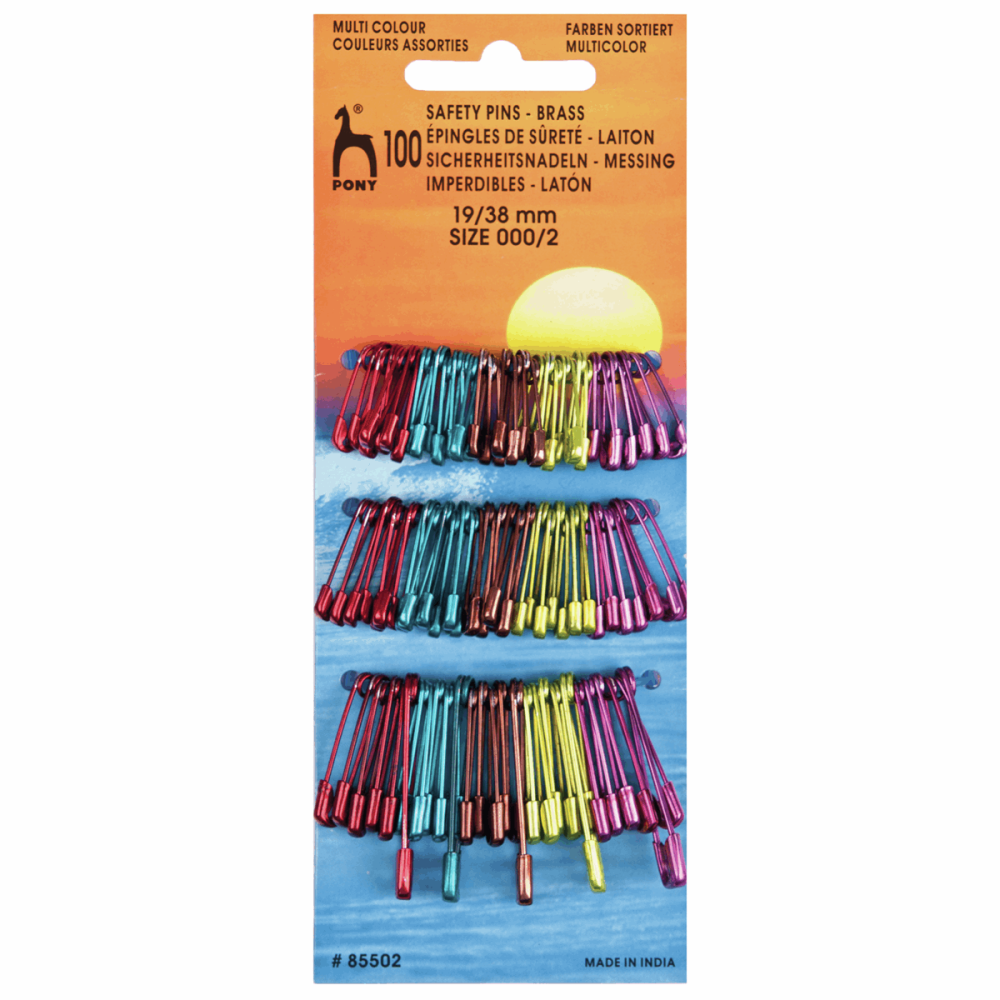 Safety Pins - Multi-colour - Assorted Sizes - 100 Pk (Pony)