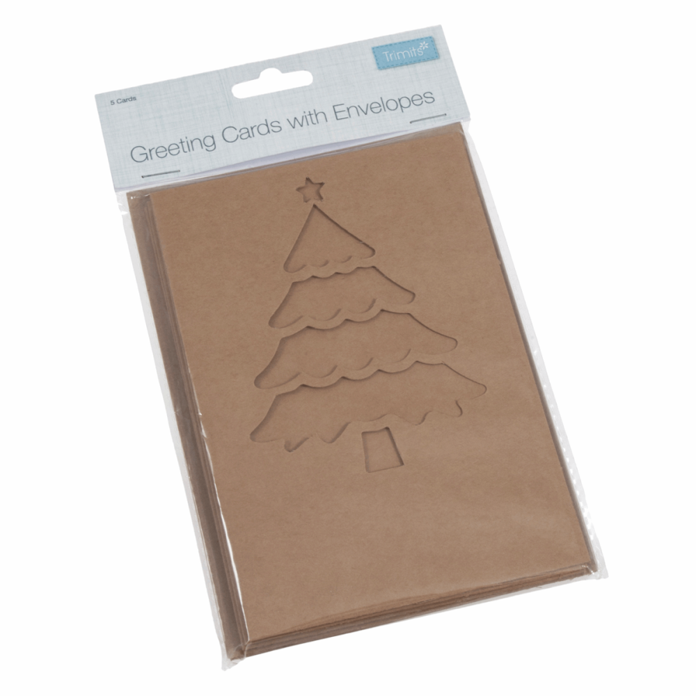 Kraft Cards with Envelopes - Christmas Tree
