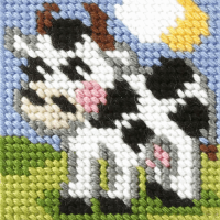 Mini Needlepoint Kit - My First Embroidery - Cow (Orchidea)