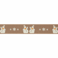 Christmas Ribbon - Snowman - Oatmeal (Berisfords)