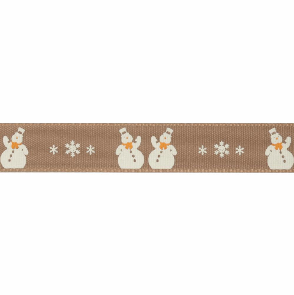 Christmas Ribbon - Snowman - Oatmeal (Berisfords)