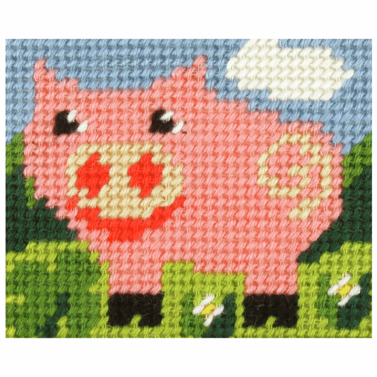 Needlepoint Kit - My First Embroidery - Pig (Orchidea)