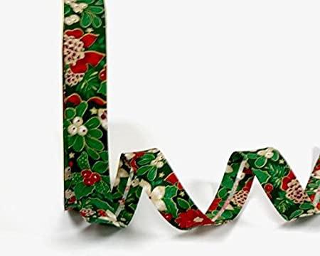 Christmas Bias Binding - Holly & Poinsettia - Green (Fany)