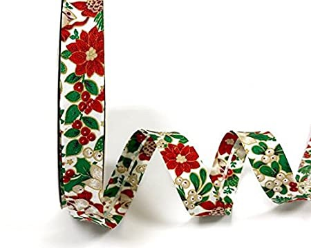 Christmas Bias Binding - Holly & Poinsettia - White (Fany)