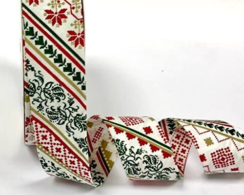 Christmas Bias Binding - Nordic Pattern - Red (Fany)
