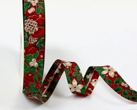 Christmas Bias Binding - Holly & Poinsettia - Red (Fany)