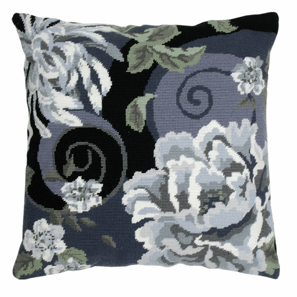 Tapestry Kit - Cushion -  Floral Swirl In Black (Anchor Living)