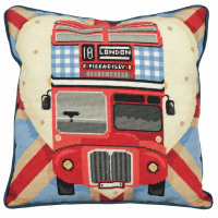Tapestry Kit - Cushion -  Red Bus On Union Jack (Anchor Living)