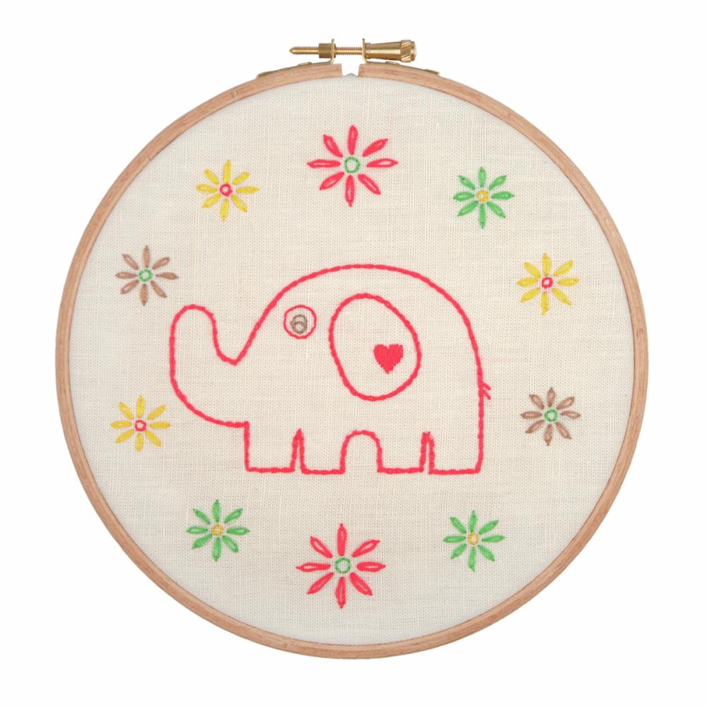 Embroidery Hoop Kit - Mummy Elephant (Anchor)