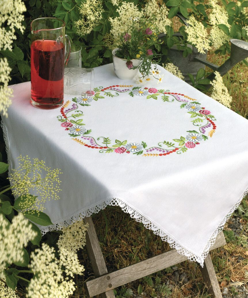 Embroidery  Kit - Summer Flowers In A Ring Tablecloth (Anchor)