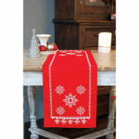 Embroidery  Kit - Festive Red Snowflakes Runner (Vervaco)