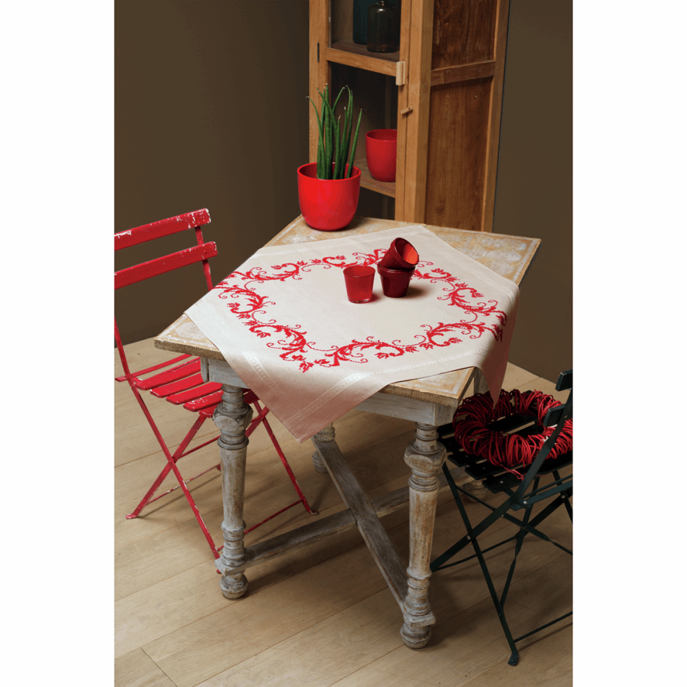 Embroidery  Kit - Red Decoration Tablecloth (Vervaco)