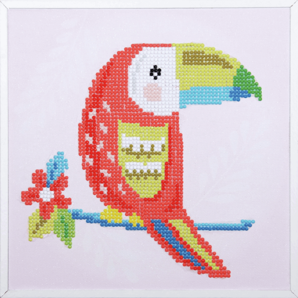 Diamond Painting kit with frame -  Toucan (Vervaco Kits 4 Kids)