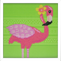 Diamond Painting kit with frame -  Flamingo (Vervaco Kits 4 Kids)