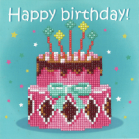 Diamond Painting greeting card kit - Birthday Cake (Vervaco)