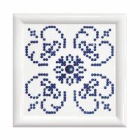 Diamond Painting kit with frame - Blue On White (Diamond Dotz)