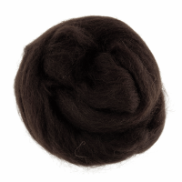 Natural Wool Roving - Dark Brown - 10g