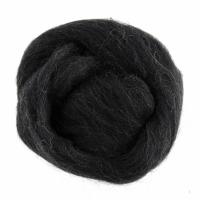 Natural Wool Roving - Melange Black and White - 10g