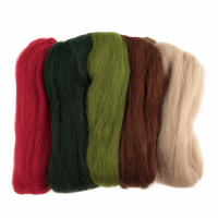 Natural Wool Roving - Christmas - Assorted Colours - 50g