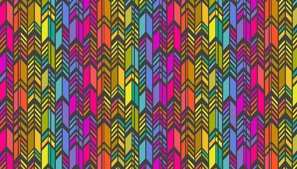 Makower - Alison Glass - Art Theory - Rainbow Feather - 9701L (Charcoal)