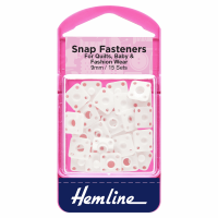 Snap Fasteners - Sew-on - Derlin - White (Plastic) - 9mm (Hemline)