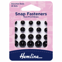 Snap Fasteners - Sew-on - Black (Brass) - Assorted Sizes (Hemline)