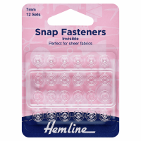Snap Fasteners - Sew-on - Clear Invisible (Plastic) - 7mm (Hemline)
