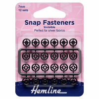 Snap Fasteners - Sew-on - Black Invisible (Plastic) - 7mm (Hemline)