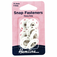 Snap Fasteners - Sew-on - Heavy Duty - White (Plastic) - 21.5mm (Hemline)