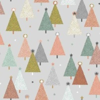 Makower - Modern Metallic Christmas - Trees - 1800/S (Grey)