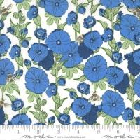 Moda - Break of Day - Hollyhocks & Bees - 43101 21 (Cornflower)