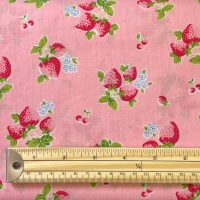 Poly Cotton Blend - Strawberries - Pink