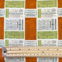 Cotton Poplin - Train Tickets - No. KF8333 Orange / Green